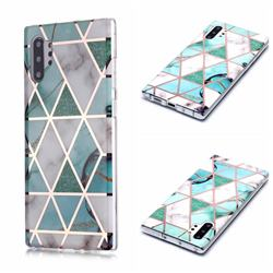 Green White Galvanized Rose Gold Marble Phone Back Cover for Samsung Galaxy Note 10 Pro (6.75 inch) / Note 10+