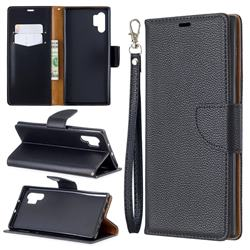 Classic Luxury Litchi Leather Phone Wallet Case for Samsung Galaxy Note 10+ (6.75 inch) / Note10 Plus - Black