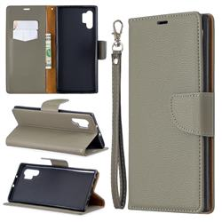 Classic Luxury Litchi Leather Phone Wallet Case for Samsung Galaxy Note 10+ (6.75 inch) / Note10 Plus - Gray