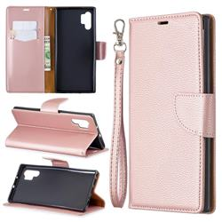 Classic Luxury Litchi Leather Phone Wallet Case for Samsung Galaxy Note 10+ (6.75 inch) / Note10 Plus - Golden