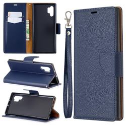 Classic Luxury Litchi Leather Phone Wallet Case for Samsung Galaxy Note 10+ (6.75 inch) / Note10 Plus - Blue