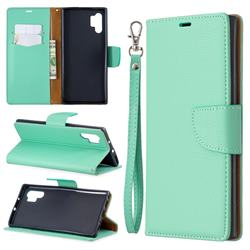 Classic Luxury Litchi Leather Phone Wallet Case for Samsung Galaxy Note 10+ (6.75 inch) / Note10 Plus - Green