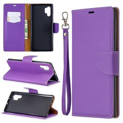 Classic Luxury Litchi Leather Phone Wallet Case for Samsung Galaxy Note 10+ (6.75 inch) / Note10 Plus - Purple