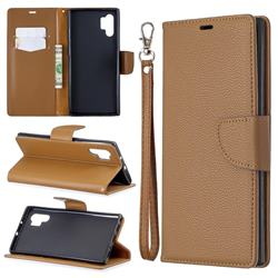 Classic Luxury Litchi Leather Phone Wallet Case for Samsung Galaxy Note 10+ (6.75 inch) / Note10 Plus - Brown