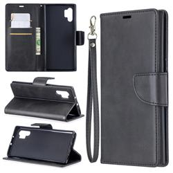 Classic Sheepskin PU Leather Phone Wallet Case for Samsung Galaxy Note 10 Pro (6.75 inch) / Note 10+ - Black