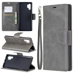 Classic Sheepskin PU Leather Phone Wallet Case for Samsung Galaxy Note 10 Pro (6.75 inch) / Note 10+ - Gray