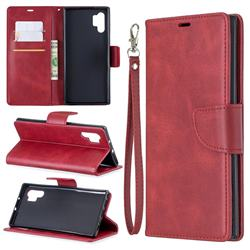 Classic Sheepskin PU Leather Phone Wallet Case for Samsung Galaxy Note 10 Pro (6.75 inch) / Note 10+ - Red