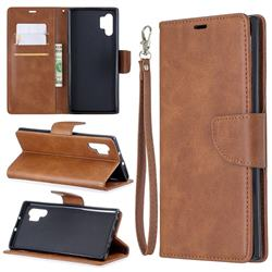 Classic Sheepskin PU Leather Phone Wallet Case for Samsung Galaxy Note 10 Pro (6.75 inch) / Note 10+ - Brown