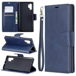 Classic Sheepskin PU Leather Phone Wallet Case for Samsung Galaxy Note 10 Pro (6.75 inch) / Note 10+ - Blue