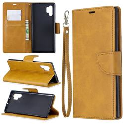 Classic Sheepskin PU Leather Phone Wallet Case for Samsung Galaxy Note 10 Pro (6.75 inch) / Note 10+ - Yellow