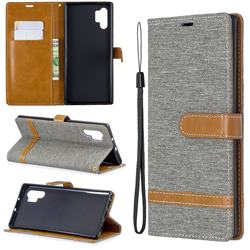 Jeans Cowboy Denim Leather Wallet Case for Samsung Galaxy Note 10+ (6.75 inch) / Note10 Plus - Gray