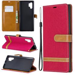 Jeans Cowboy Denim Leather Wallet Case for Samsung Galaxy Note 10+ (6.75 inch) / Note10 Plus - Red