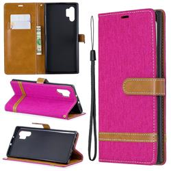 Jeans Cowboy Denim Leather Wallet Case for Samsung Galaxy Note 10 Pro (6.75 inch) / Note 10+ - Rose