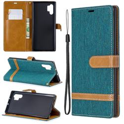 Jeans Cowboy Denim Leather Wallet Case for Samsung Galaxy Note 10+ (6.75 inch) / Note10 Plus - Green