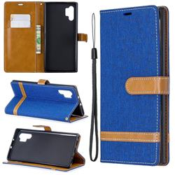 Jeans Cowboy Denim Leather Wallet Case for Samsung Galaxy Note 10+ (6.75 inch) / Note10 Plus - Sapphire