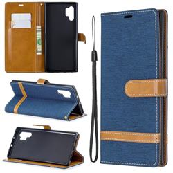 Jeans Cowboy Denim Leather Wallet Case for Samsung Galaxy Note 10+ (6.75 inch) / Note10 Plus - Dark Blue