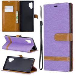 Jeans Cowboy Denim Leather Wallet Case for Samsung Galaxy Note 10+ (6.75 inch) / Note10 Plus - Purple