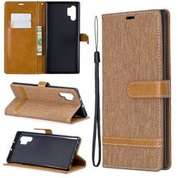 Jeans Cowboy Denim Leather Wallet Case for Samsung Galaxy Note 10+ (6.75 inch) / Note10 Plus - Brown