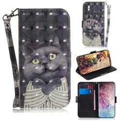Cat Embrace 3D Painted Leather Wallet Phone Case for Samsung Galaxy Note 10+ (6.75 inch) / Note10 Plus