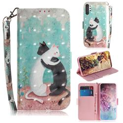 Black and White Cat 3D Painted Leather Wallet Phone Case for Samsung Galaxy Note 10+ (6.75 inch) / Note10 Plus
