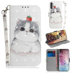 Cute Tomato Cat 3D Painted Leather Wallet Phone Case for Samsung Galaxy Note 10+ (6.75 inch) / Note10 Plus