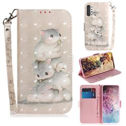 Three Squirrels 3D Painted Leather Wallet Phone Case for Samsung Galaxy Note 10+ (6.75 inch) / Note10 Plus