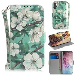 Watercolor Flower 3D Painted Leather Wallet Phone Case for Samsung Galaxy Note 10+ (6.75 inch) / Note10 Plus