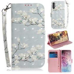 Magnolia Flower 3D Painted Leather Wallet Phone Case for Samsung Galaxy Note 10+ (6.75 inch) / Note10 Plus
