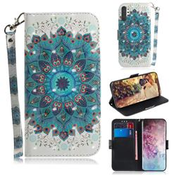 Peacock Mandala 3D Painted Leather Wallet Phone Case for Samsung Galaxy Note 10+ (6.75 inch) / Note10 Plus