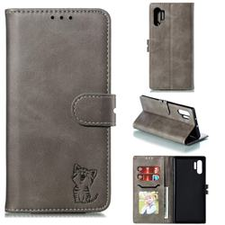 Embossing Happy Cat Leather Wallet Case for Samsung Galaxy Note 10+ (6.75 inch) / Note10 Plus - Gray