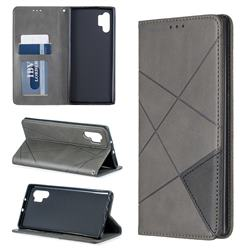 Prismatic Slim Magnetic Sucking Stitching Wallet Flip Cover for Samsung Galaxy Note 10+ (6.75 inch) / Note10 Plus - Gray