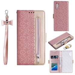 Luxury Lace Zipper Stitching Leather Phone Wallet Case for Samsung Galaxy Note 10+ (6.75 inch) / Note10 Plus - Pink