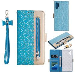 Luxury Lace Zipper Stitching Leather Phone Wallet Case for Samsung Galaxy Note 10+ (6.75 inch) / Note10 Plus - Blue