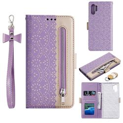 Luxury Lace Zipper Stitching Leather Phone Wallet Case for Samsung Galaxy Note 10+ (6.75 inch) / Note10 Plus - Purple