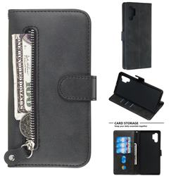 Retro Luxury Zipper Leather Phone Wallet Case for Samsung Galaxy Note 10 Pro (6.75 inch) / Note 10+ - Black