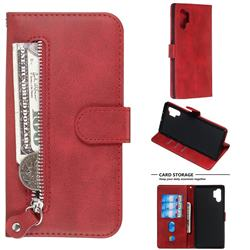 Retro Luxury Zipper Leather Phone Wallet Case for Samsung Galaxy Note 10 Pro (6.75 inch) / Note 10+ - Red