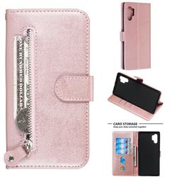 Retro Luxury Zipper Leather Phone Wallet Case for Samsung Galaxy Note 10 Pro (6.75 inch) / Note 10+ - Pink