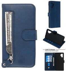 Retro Luxury Zipper Leather Phone Wallet Case for Samsung Galaxy Note 10 Pro (6.75 inch) / Note 10+ - Blue