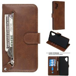 Retro Luxury Zipper Leather Phone Wallet Case for Samsung Galaxy Note 10 Pro (6.75 inch) / Note 10+ - Brown