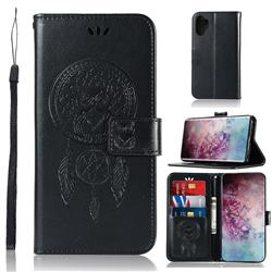 Intricate Embossing Owl Campanula Leather Wallet Case for Samsung Galaxy Note 10+ (6.75 inch) / Note10 Plus - Black