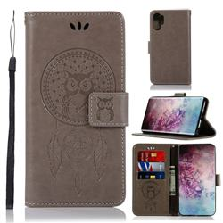 Intricate Embossing Owl Campanula Leather Wallet Case for Samsung Galaxy Note 10+ (6.75 inch) / Note10 Plus - Grey