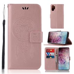 Intricate Embossing Owl Campanula Leather Wallet Case for Samsung Galaxy Note 10+ (6.75 inch) / Note10 Plus - Rose Gold