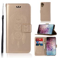 Intricate Embossing Owl Campanula Leather Wallet Case for Samsung Galaxy Note 10+ (6.75 inch) / Note10 Plus - Champagne