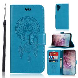 Intricate Embossing Owl Campanula Leather Wallet Case for Samsung Galaxy Note 10+ (6.75 inch) / Note10 Plus - Blue