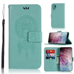 Intricate Embossing Owl Campanula Leather Wallet Case for Samsung Galaxy Note 10+ (6.75 inch) / Note10 Plus - Green