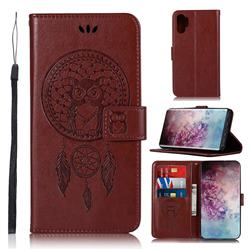 Intricate Embossing Owl Campanula Leather Wallet Case for Samsung Galaxy Note 10+ (6.75 inch) / Note10 Plus - Brown