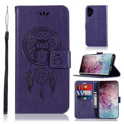 Intricate Embossing Owl Campanula Leather Wallet Case for Samsung Galaxy Note 10+ (6.75 inch) / Note10 Plus - Purple