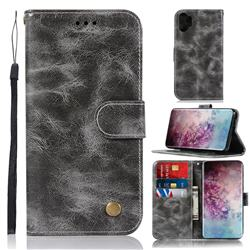 Luxury Retro Leather Wallet Case for Samsung Galaxy Note 10+ (6.75 inch) / Note10 Plus - Gray