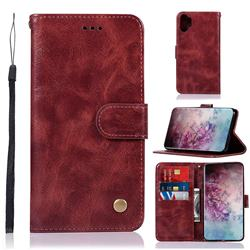 Luxury Retro Leather Wallet Case for Samsung Galaxy Note 10+ (6.75 inch) / Note10 Plus - Wine Red