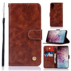 Luxury Retro Leather Wallet Case for Samsung Galaxy Note 10+ (6.75 inch) / Note10 Plus - Brown
